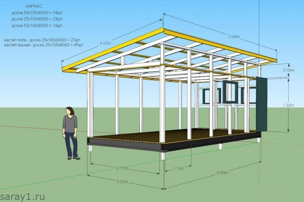 Красивый сарай на даче своими руками 3 х 6 с односкатной крышей чертеж 10